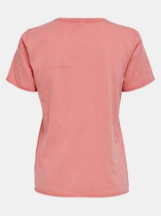 Růžové tričko s potiskem ONLY Lucy