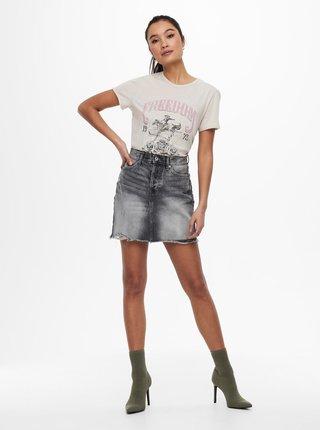 Krémové tričko s potiskem ONLY Lucy