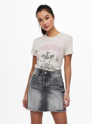 Krémové tričko s potlačou ONLY Lucy