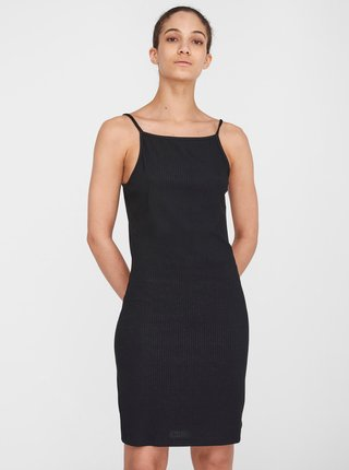 Černé žebrované pouzdrové šaty Noisy May Edda