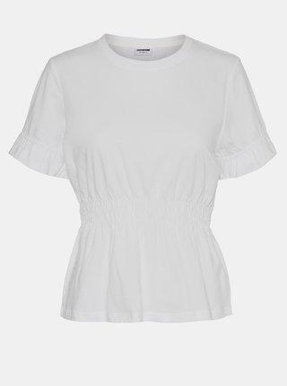 Bílé tričko s řasením v pase Noisy May Palmer