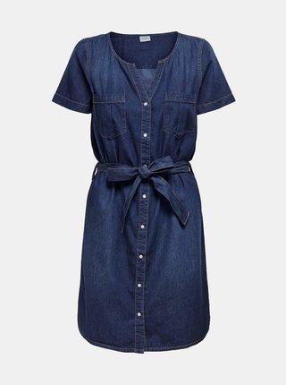 Tmavě modré džínové košilové šaty Jacqueline de Yong Saint