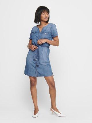 Modré rifľové košeľové šaty Jacqueline de Yong Saint