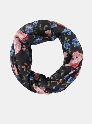 Černý květovaný šátek Pieces Avola