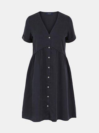 Černé šaty s knoflíky Pieces Mallie