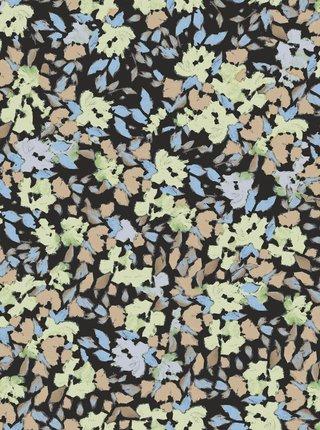 Zeleno-čierne kvetované midišaty Pieces Lubbie