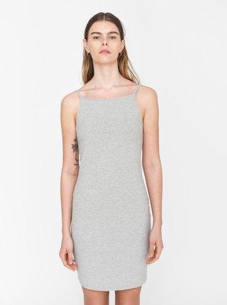 Světle šedé žebrované pouzdrové šaty Noisy May Edda