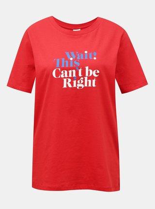 Červené tričko s potiskem Jacqueline de Yong Mille