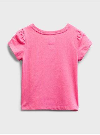 Růžové holčičí dětské tričko GAP Logo organic cotton t-shirt