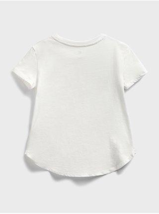 Bílé holčičí dětské tričko GAP Logo flippy sequin t-shirt