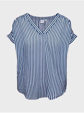 Modrý dámský top print v-neck top