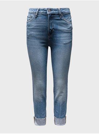 Modré dámské džíny mid rise universal slim boyfriend jeans