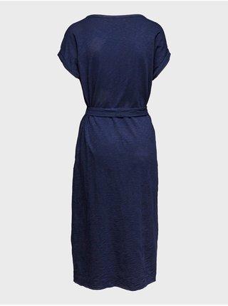 Modré dámské šaty short sleeve tie waist dress