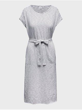 Šedé dámské šaty short sleeve tie waist dress