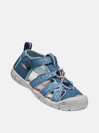 Modré dievčenské kvetované sandále Keen