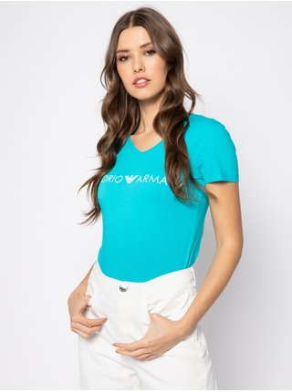 Dámské tričko 163321 0P317 00383 modrá - Emporio Armani