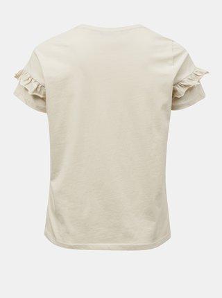 Krémové tričko s potlačou VERO MODA CURVE Silya