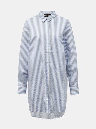 Svetlomodrá pruhovaná dlhá košeľa Pieces Sheridan