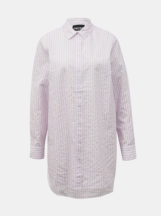 Svetloružová pruhovaná dlhá košeľa Pieces Sheridan