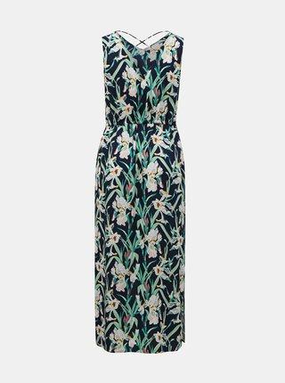 Zeleno-modré kvetované maxišaty so zaväzovaním VERO MODA CURVE Simply