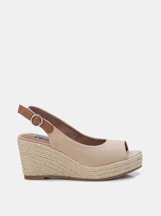 Béžové sandálky na plnom podpätku Xti