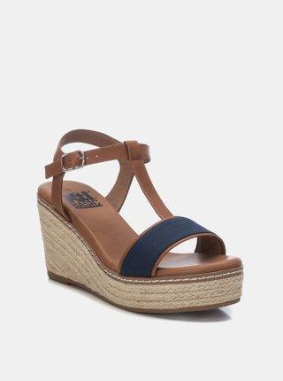 Modro-hnedé sandálky na plnom podpätku Xti