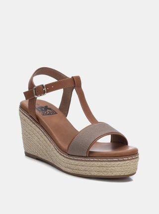 Šedo-hnedé sandálky na plnom podpätku Xti