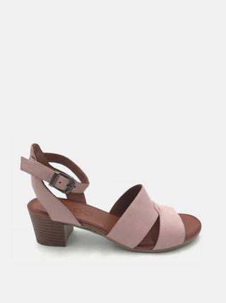 Světle růžové kožené sandálky na podpatku WILD