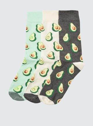 Sada tří párů vzorovaných ponožek v zelené a šedé barvě Trendyol