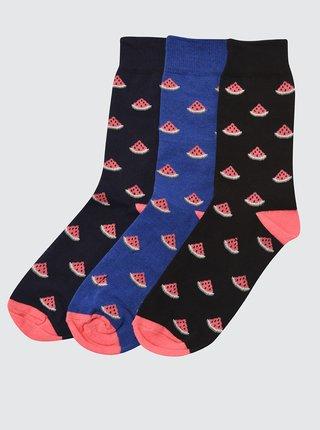 Sada tří párů vzorovaných ponožek v modré a černé barvě Trendyol