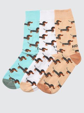 Sada troch párov vzorovaných ponožiek v bielej a hnedej farbe Trendyol