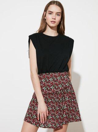 Červeno-černá květovaná sukně Trendyol