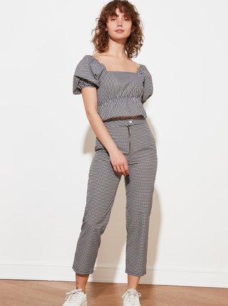 Šedé dámské kostkované zkrácené kalhoty Trendyol