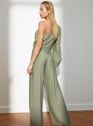 Zelené dámské široké kalhoty Trendyol