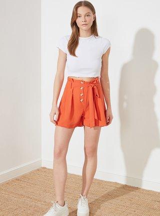 Oranžové dámské kraťasy se zavazováním Trendyol