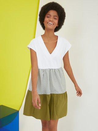 Bílo-zelené šaty Trendyol