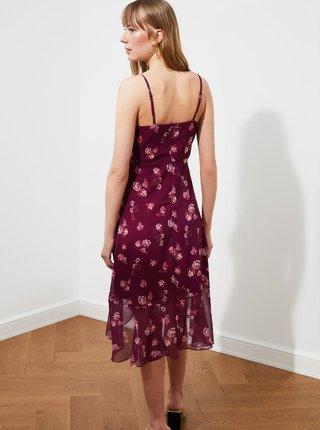 Fialové květované šaty s volány Trendyol