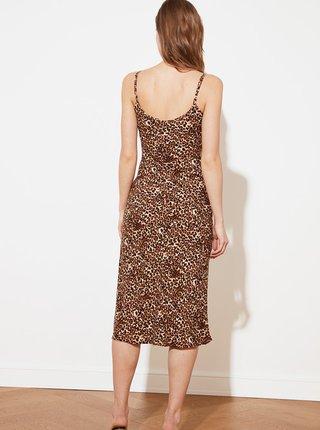 Hnědé vzorované šaty na ramínka Trendyol