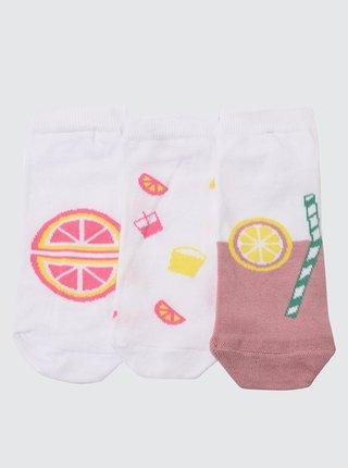 Sada troch párov dámskych vzorovaných ponožiek v ružovej a bielej darbe Trendyol