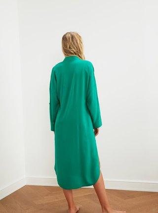 Zelené volné košilové midišaty Trendyol