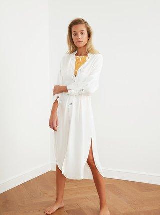 Bílé volné košilové midišaty Trendyol