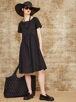 Čierne voľné ľanové šaty s vreckami ZOOT Medeline