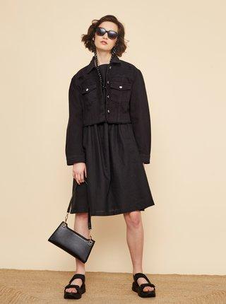 Černé volné lněné šaty s kapsami ZOOT Medeline