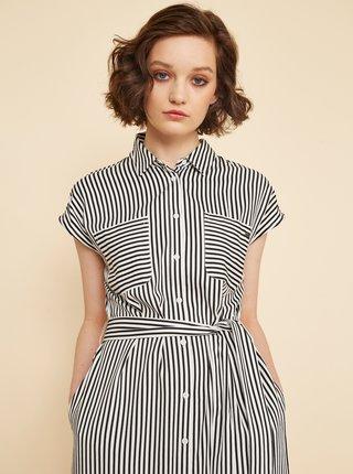 Bílo-černé pruhované košilové šaty se zavazováním ZOOT Joy