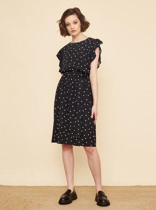 Čierne bodkované šaty so zaväzovaním ZOOT Debora