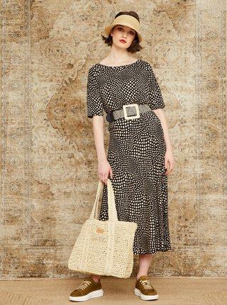 Béžovo-černá vzorovaná midi sukně s rozparkem ZOOT Norine