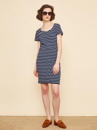 Tmavě modré pruhované pouzdrové šaty ZOOT Vally