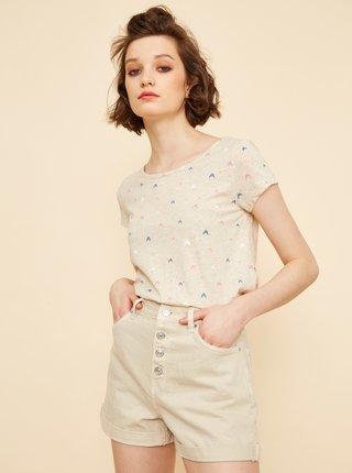 Béžové dámské vzorované tričko ZOOT Baseline Raquel