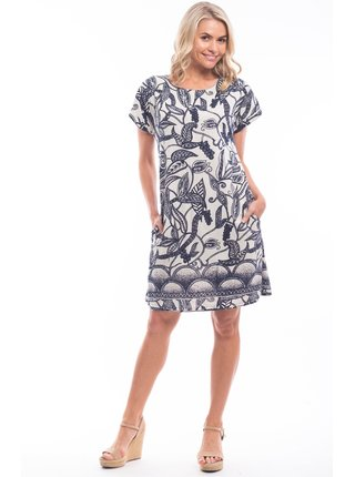 Orientique černo-bílé šaty Valencia se vzory