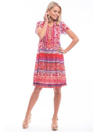 Orientique červené letní šaty Ibiza Pink se vzory